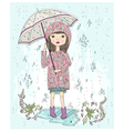 Cute little girl holding umbrella vector image