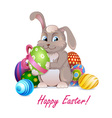 Easter rabbit with decorative eggs vector image