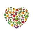 Food heart Vegetables and fruit set of icons vector image