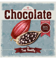 retro of cocoa beans fruit of vector image