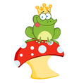 Cartoon frog on mushroom vector image