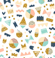 Fun shapes pattern with gold on white vector image vector image