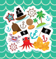 Card pirate Cute party invitation animals design vector image