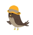 Cartoon sparrow with hat flat icon vector image
