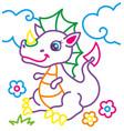 coloring book of cute dragon vector image