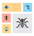 flat icon buzz set of tiny gnat dung and other vector image