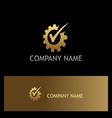 gear work check mark gold logo vector image