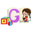 girl and letter g on paper vector image