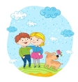 Happy children with dog at park vector image