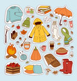 autumn icons stickers hand drawn vector image