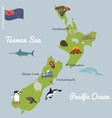 new zealand tourist map with famous landmarks vector image