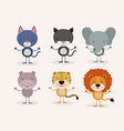 white background withset cute male animals love vector image