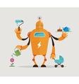 Multitasking robot character vector image vector image