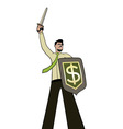 businessman knight vector image vector image