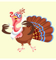 cartoon thanksgiving turkey character in napkin vector image