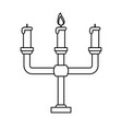 chandelier with one lit candle icon image vector image