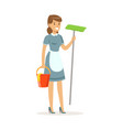 cheerful maid character wearing uniform standing vector image