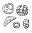Collection of hand drawn ink bakery sketches vector image