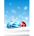 colorful christmas balls over blue sky background vector image