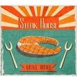 Fish steak retro poster vector image