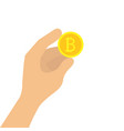 hand holding bitcoin vector image