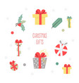 set of christmas graphic elements on a white vector image