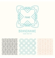 set of outline emblems and patterns vector image