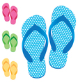 Slippers set of female with Multicolored slippers vector image