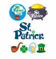 traditional saint patricks day icons set vector image