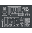 Living room line on Black vector image
