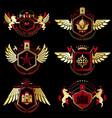 vintage decorative heraldic emblems composed vector image