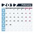Calendar 2017 February design template vector image