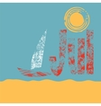 Chalk drawing of seaside ship and sun vector image