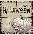Halloween card wtih pumpkin over old paper vector image