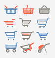Shopping carts and trolleys vector image vector image