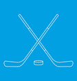 hockey sticks and puck icon outline style vector image