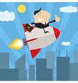 Businessman on a Sky Rocket Cartoon vector image vector image