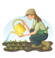 Young woman watering with can a bed in garden vector image