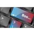 boo word on computer keyboard keys  keyboard keys vector image