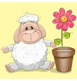 Sheep with flower vector image