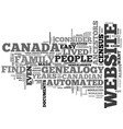 Automated genealogy text word cloud concept vector image