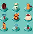 coffee colored isometric icons vector image