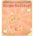 Retro Baby Girl Birthday Card vector image