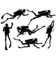 set of diver silhouettes vector image