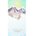 watercolor poster with mountain landscape for your vector image