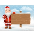 Santa Claus holding wooden sign vector image