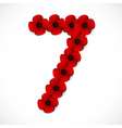 poppies number seven vector image vector image