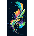Multicolored abstract floral element on black back vector image vector image