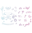 doodle baby icon sets vector image