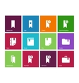 Bookmark tag favorite icons on color background vector image